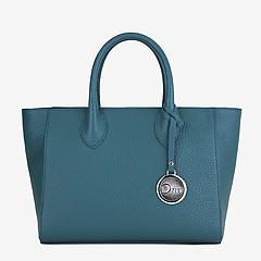 4b9b2823 ... Темно-бирюзовая кожаная сумка-тоут среднего размера с фирменным брелоком  Deboro 3469 aquamarine