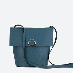 fdc2515940c2 ... Темно-бирюзовая кожаная сумочка кросс-боди с серебристой пряжкой Deboro  3529 aquamarine