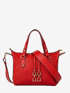 e3d2cffb1f75 ... Трапециевидная кожаная сумка-тоут небольшого размера в красном цвете  Deboro 3568 red