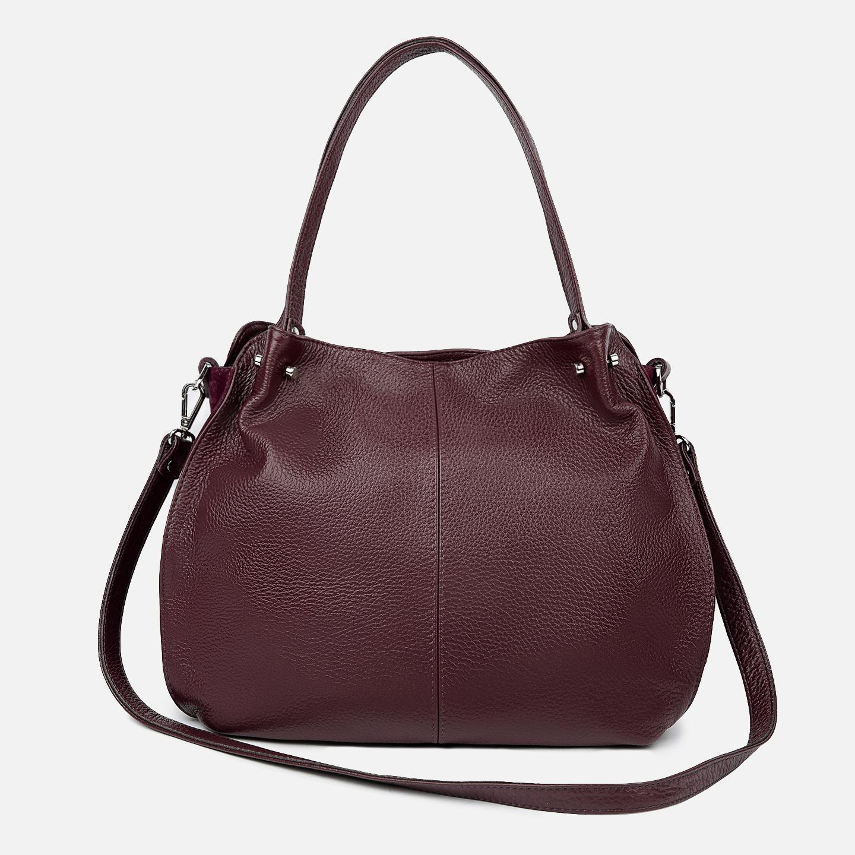 Мягкая вместительная сумка из натуральной кожи бордового цвета со ... c03504bb438