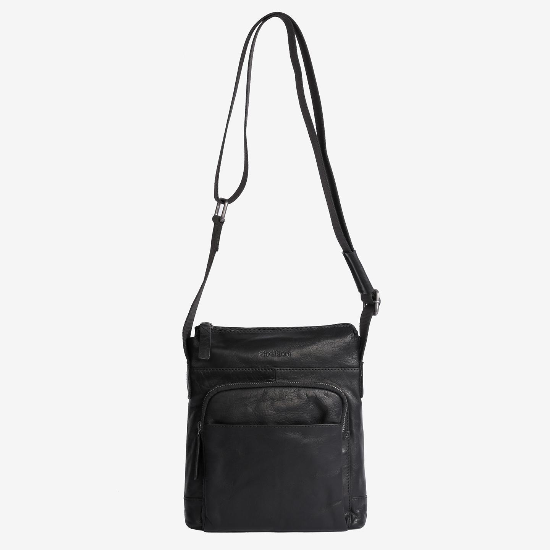 9ae2f7fa551d Маленькая мужская сумка через плечо черного цвета из кожи Strellson ...
