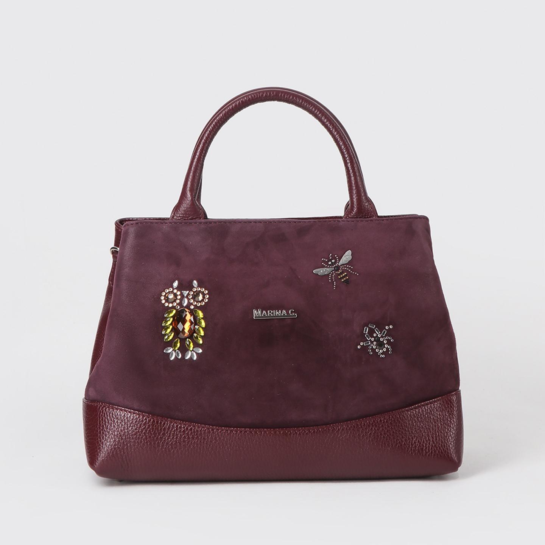 Бордовая сумка-тоут трапеция из кожи и замши с декором из кристаллов  Swarovski Marina Creazioni Женские классические сумки ... 1366715b623