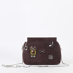 fee5441ca ... Кросс-боди из замши коричневого цвета со съемной цепочкой и кристаллами  Swarovski Marina Creazioni 4400