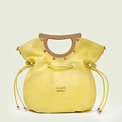 25ea28813f30 ... Желтая кожаная сумка среднего размера с деревянными ручками Marina  Creazioni 4482 lemon