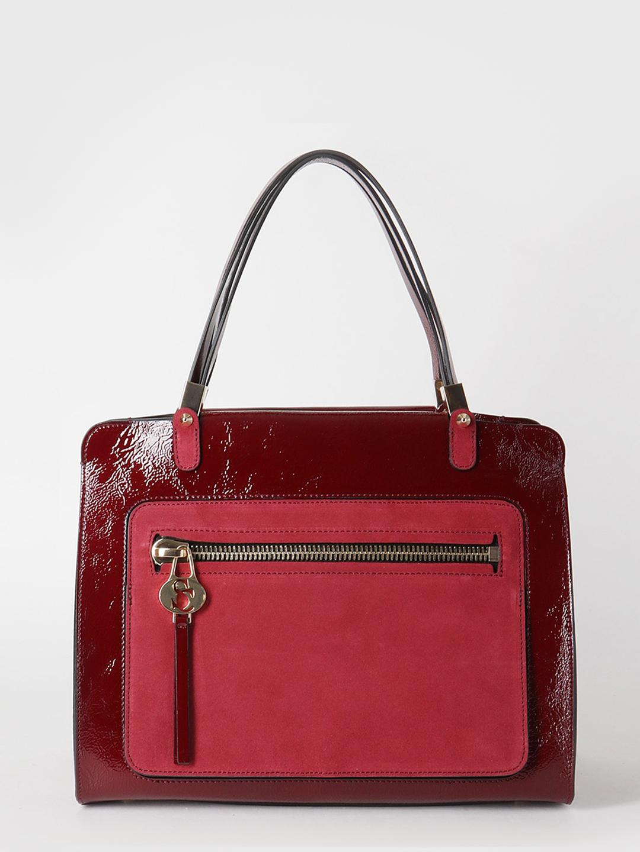 Сумка-тоут бордового цвета среднего размера в сочетании натуральной кожи и  замши Carlo Salvatelli Женские классические сумки ... 38630af02cc