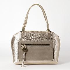 0a4836b2af1d ... Золотистая кожаная сумка-тоут трапециевидной формы с замшевым карманом  Carlo Salvatelli 452 gold