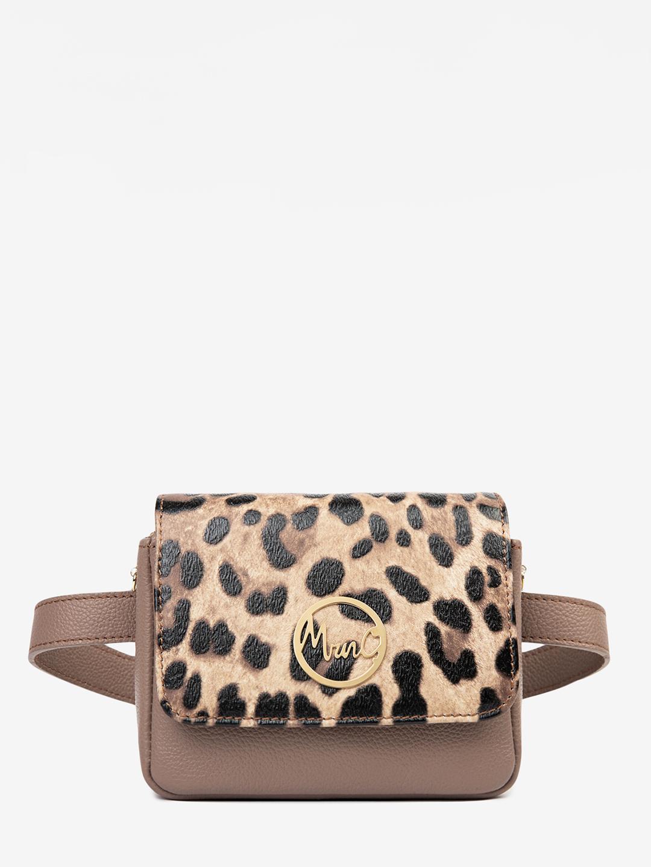 70cc48a534d4 Маленькая кожаная сумочка-трансформер в оттенке тауп с леопардовым принтом  Marina Creazioni ...