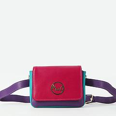 e81dab43f3ba ... Маленькая кожаная сумочка-трансформер в стиле колор-блок Marina  Creazioni 4604 X935 fuchsia violet