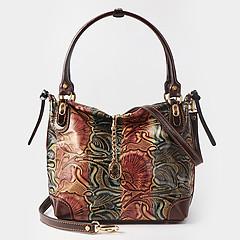 fe09e8ccabb1 ... Черно-коричневая сумка-тоут из натуральной плотной кожи с объемным  узорным тиснением на удобных