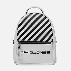929964b8d91a ... Белый рюкзак с фирменным принтом из мягкой экокожи David Jones 5965-4  white