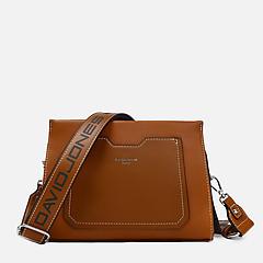 3caae9c554bd ... Прямоугольная сумочка-кросс-боди в шоколадном оттенке из экокожи David  Jones 5981-1