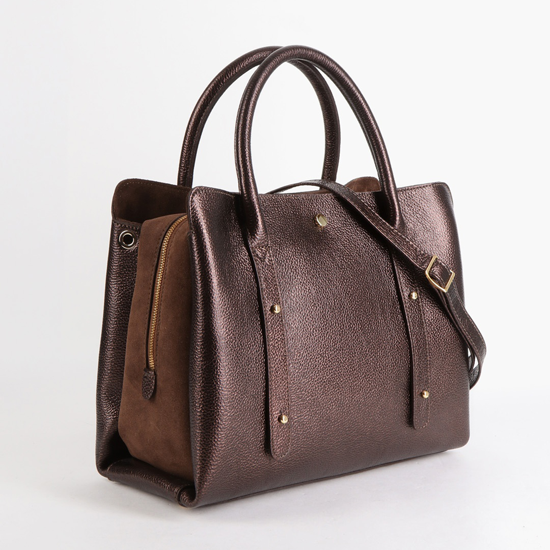 a957642e9253 Сумка-тоут бронзового цвета из натуральной кожи с замшевой вставкой Gilda  Tonelli ...