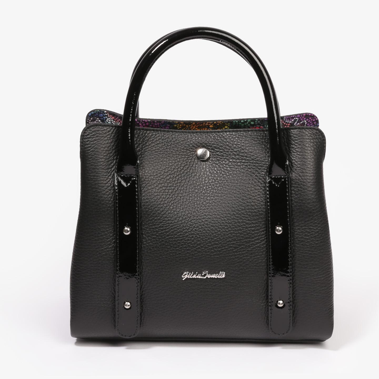 4f65b2b5 Небольшая черная сумочка из натуральной кожи с лаковыми ручками Gilda  Tonelli Женские классические сумки Gilda Tonelli ...