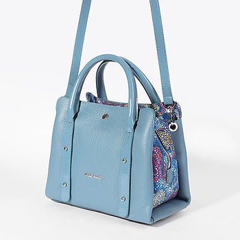 3bed6bd9bbdb Голубая сумочка из натуральной кожи и вставкой с цветным узором Gilda  Tonelli 6244 blue ...