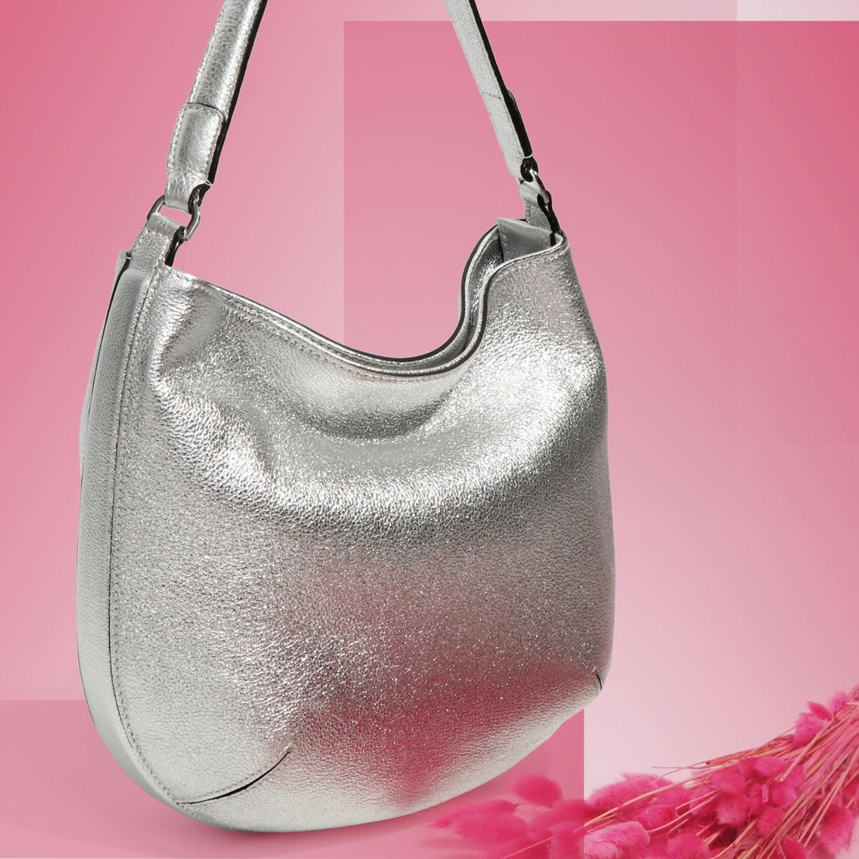 fe9c3af5ab9a Мягкая серебристая сумка хобо – Италия, серебряного цвета ...