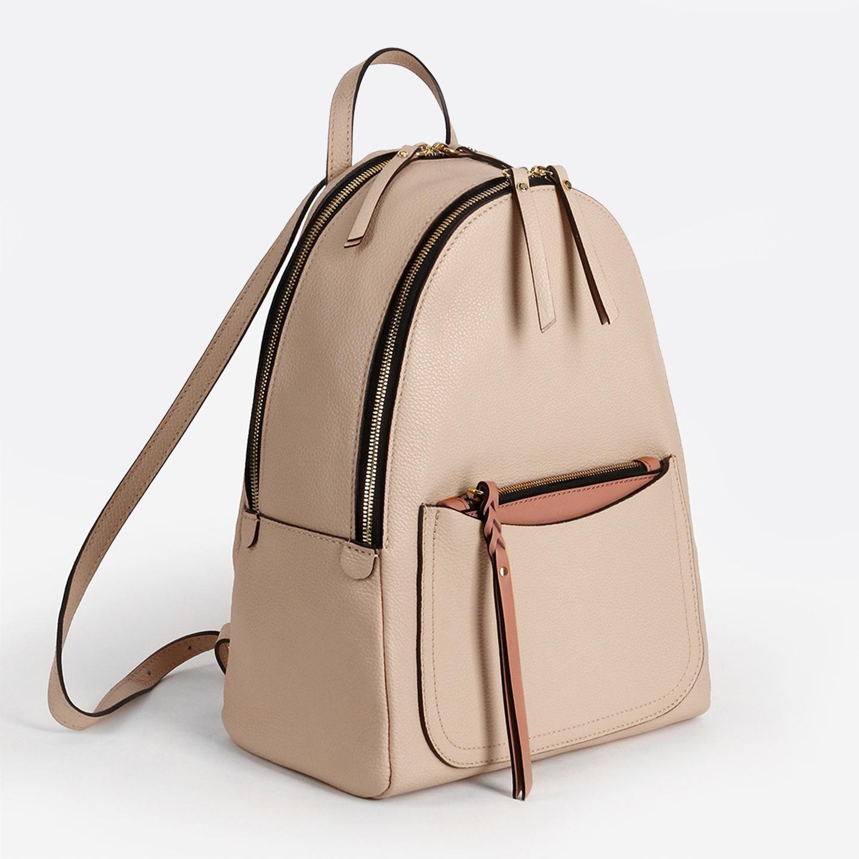 9adf473cd09a Модный городской рюкзак – Италия, бежевого цвета, натуральная кожа ...