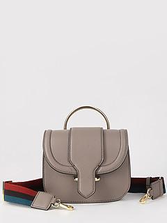 1d2e0833e835 ... Серо-бежевая небольшая кожаная сумка с круглой металлической ручкой  Gianni Chiarini 6589 taupe
