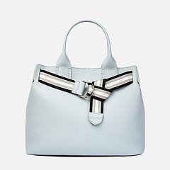 7949fb895 ... Светло-серая кожаная сумка-тоут с текстильным ремнем Innue 672 light  grey