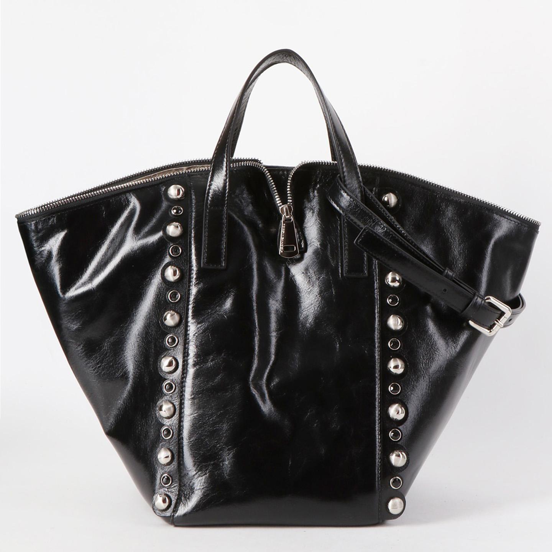 11495000ee47 Вместительная сумка-трансформер 3 в 1 из мягкой черной кожи с декором из  клепок и ...