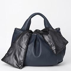 28f97ae58d36 ... Двусторонняя сумка из мягкой синей кожи в сочетании со стеганой  болоньевой тканью Roberta Gandolfi 7080 blue