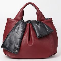 7526eb3783a7 ... Объемная двусторонняя сумка из мягкой бордовой кожи в сочетании со  стеганой болоньевой тканью Roberta Gandolfi 7081