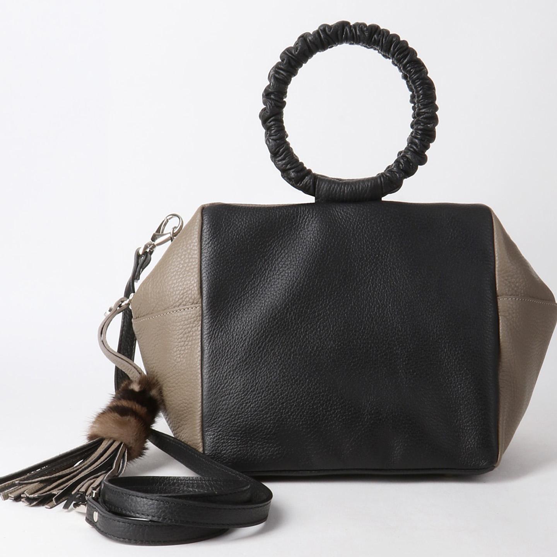 0017cac9b128 Объемная сумка из мягкой кожи с круглыми ручками – Италия, черного ...