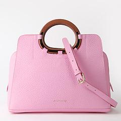 a233e2acb941 ... Розовая кожаная сумка-тоут с круглыми деревянными ручками Di Gregorio  843 pink