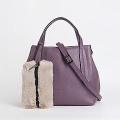 ... Фиолетовая сумка-тоут из мягкой кожи с дополнительным меховым клатчем  Ripani 8507 violet a42f89ec340