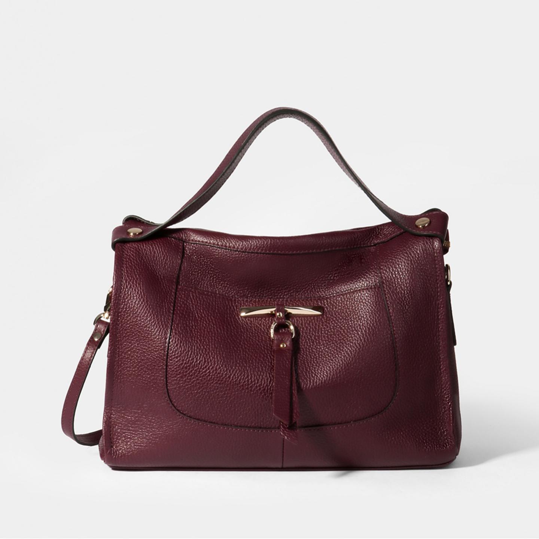 6b95764a7ad6 Мягкая вместительная сумка-тоут из бордовой кожи – Италия, бордового ...
