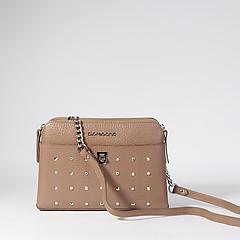 0d014033a0ca ... Бежевая кожаная сумочка кросс-боди, декорированная кристаллами и  ремешком на цепочке Di Gregorio 873