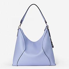 8672e5f65f33 ... Мягкая голубая сумка-хобо на плечо из натуральной кожи Di Gregorio 9021  blue