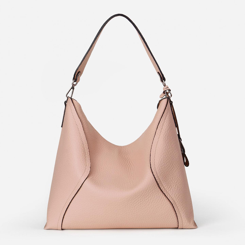 24971c5f97bd Мягкая сумка-хобо на плечо из пудрово-розовой кожи Di Gregorio ...