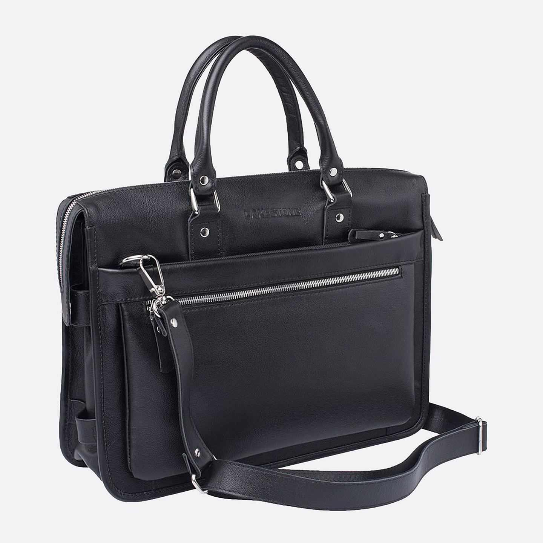 7512bb9409cc Мужской портфель из мягкой натуральной кожи в черном цвете на молнии  LAKESTONE ...