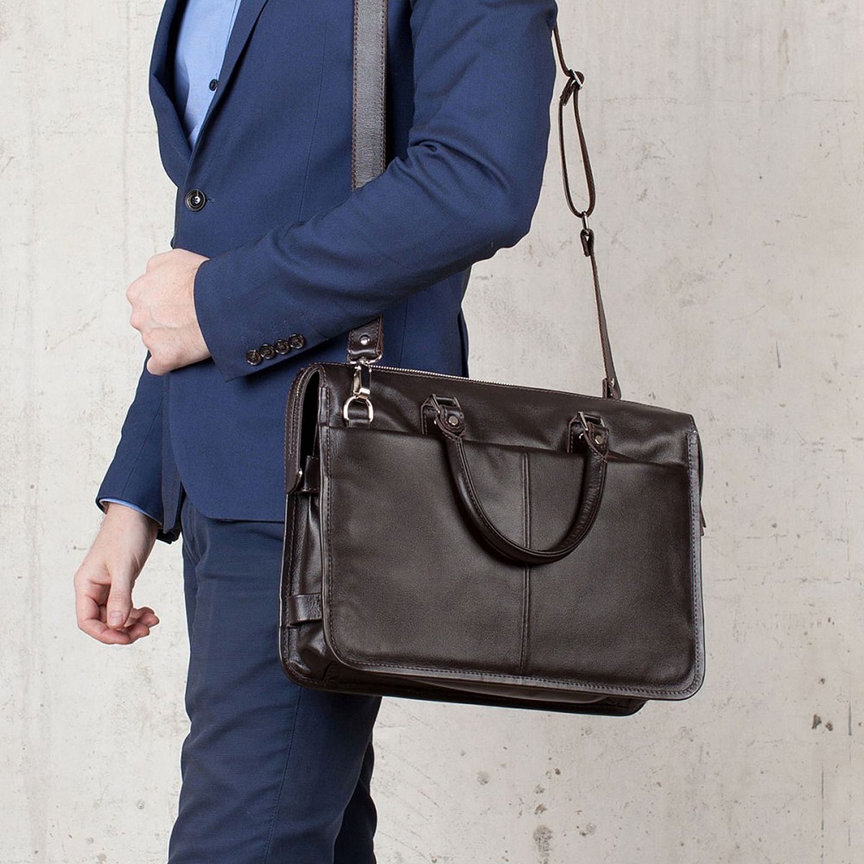 46d9827f0c92 Мужской портфель из мягкой натуральной кожи в коричневом цвете на молнии  LAKESTONE ...