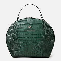 99d973b82bf7 ... Круглая кожаная сумка с тиснением под крокодила в темно-зеленом цвете  Lucia Lombardi 931 dark