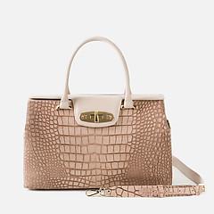 48abf22d8726 ... Бежевая кожаная сумка-саквояж с тиснением под крокодила Lucia Lombardi  963 beige croc