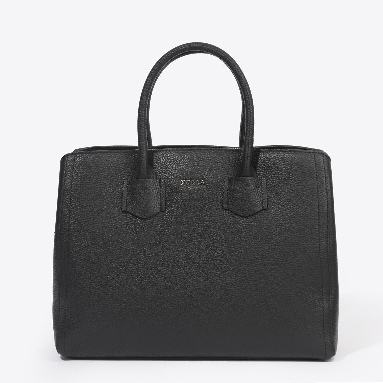 2b9a8de68a53 Черная кожаная сумка-тоут Alba среднего размера – Италия, черного ...