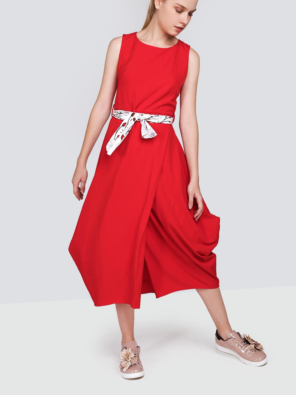 ee6d00bc922 Красное платье миди с запахом и поясом Imperial ...