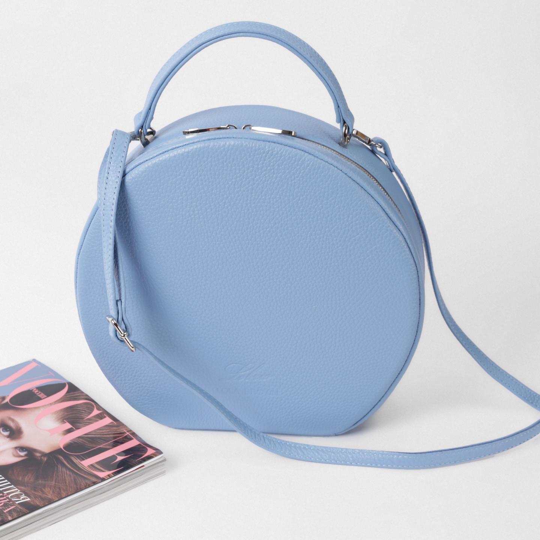 Круглая кожаная сумка среднего размера – Россия, голубого цвета ... 81e06b91c95