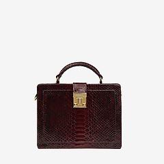 077c09f7bdae ... Бордовая сумка-чемоданчик из натуральной кожи питона Geuco Dream Box  bordo python