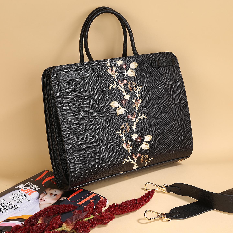 09e133efe0e8 Сумка с цветочным принтом – Китай, черного цвета, натуральная кожа ...