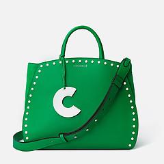 738cc1992145 ... Зеленая кожаная сумка-тоут Concrete Special с белым брелоком и  замшевыми вставками Coccinelle E1-