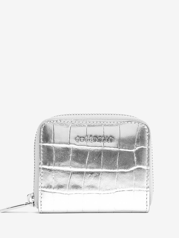 3c0344a6e Серебристое кожаное портмоне Metallic Croco с тиснением под крокодила  Coccinelle ...