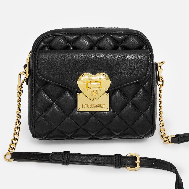 f7c27d99448a Элегантная черная сумочка на цепочке из качественной экокожи с фирменной  золотистой фурнитурой Love Moschino ...
