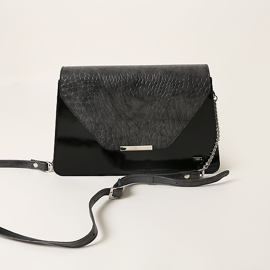Сумки через плечо ESSE Kitti dark croco grey black