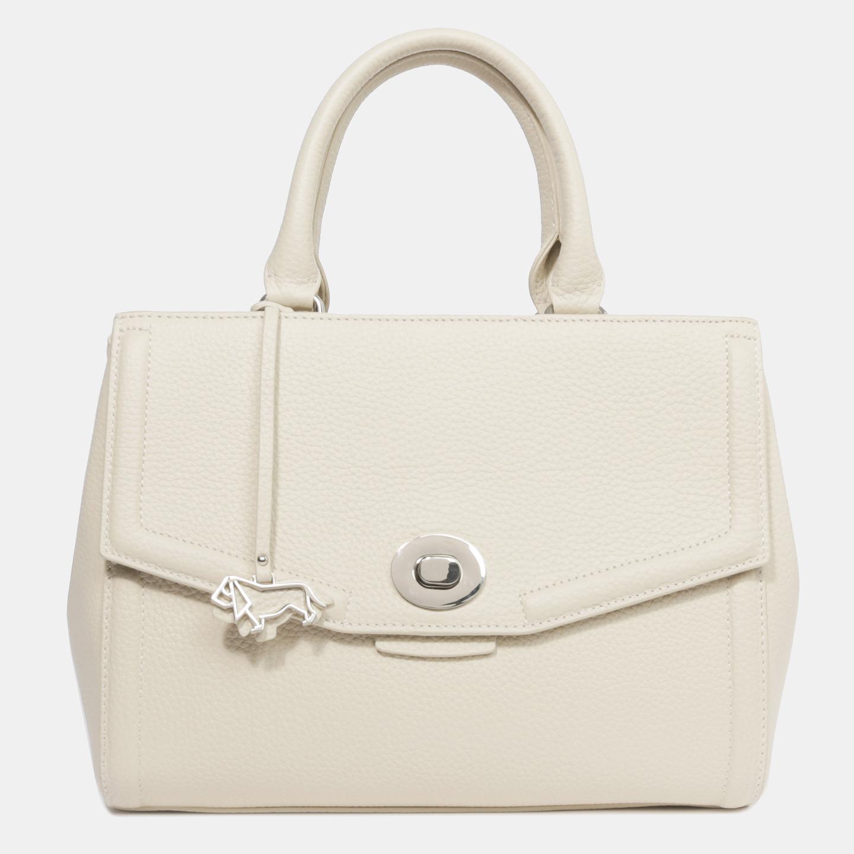 741056701244 Бежевая кожаная сумка среднего размера с фирменным брелоком – Китай ...