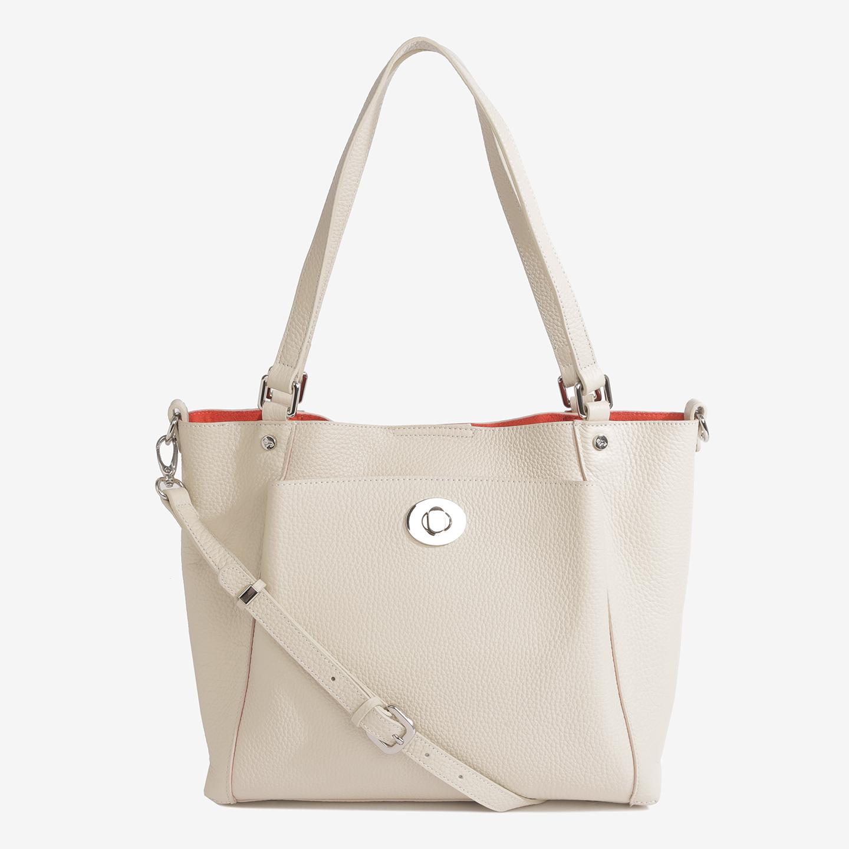 edb94f148fd3 Бежевая кожаная сумка-тоут среднего размера с косметичкой в комплекте Labbra  ...