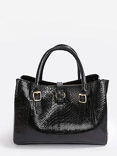 5281533f3dc6 ... Черная классическая сумка из натуральной кожи питона Geuco Lovespring  black glossy python