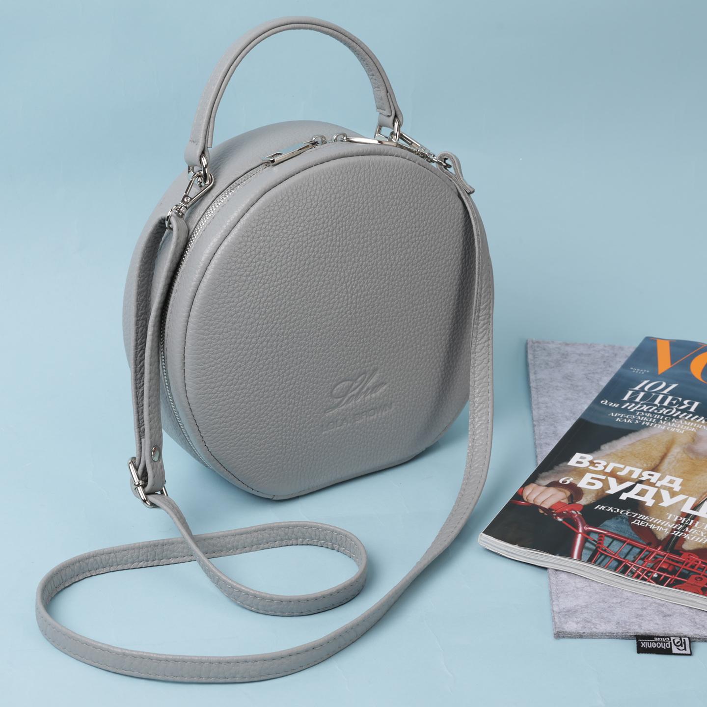 Светло-серая круглая сумка из натуральной кожи Lola Brown ... f30ca670f776c