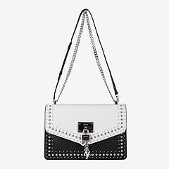 2a69ad2867f1 ... Черно-белая кожаная сумочка-кросс-боди Elissa с заклепками DKNY  R8436281-white